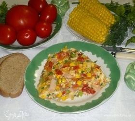Омлет с ветчиной и овощами