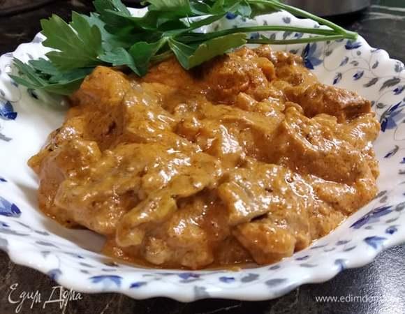 Куриная печень в томатно-сметанном соусе