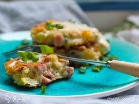 Оладьи с ветчиной, сыром и зеленым луком