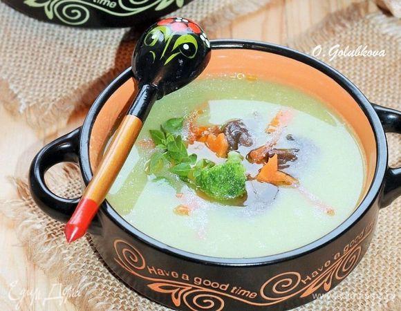 Суп-пюре из брокколи с грибной начинкой