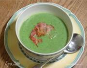 Зеленый суп со шпинатом, руколой и копченостями