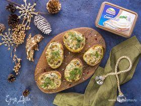 Картофель, запеченный с сырно-грибной начинкой