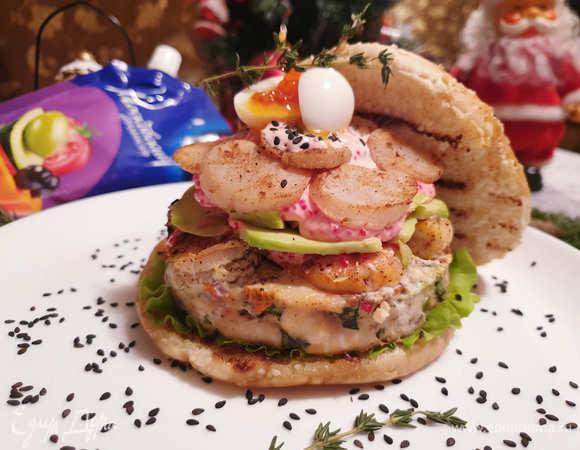 Фишбургер с форелью и креветками