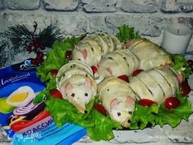 Фаршированные кальмары в майонезно-сметанном соусе