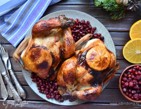 Рождественские цыплята с апельсинами и клюквой