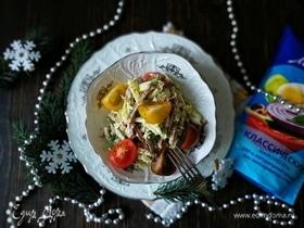 Салат с языком и зеленью