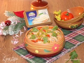 Куриное рагу со сливочно-грибным соусом