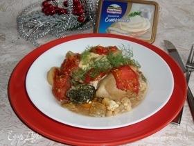 Запеченный кролик с овощами и сыром