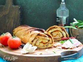 Хлеб-рулет с копченым салом и зеленым луком