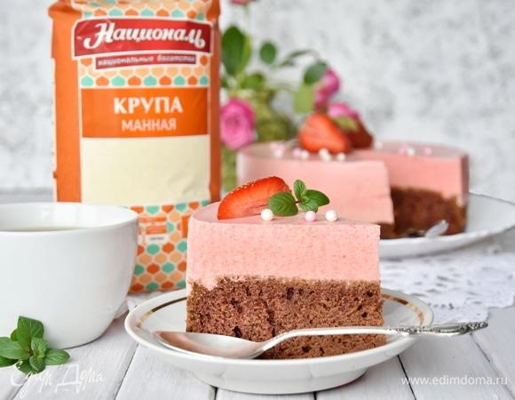 Ягодный торт-суфле на манной крупе