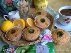 Лимонные кексы с цукатами и джемом