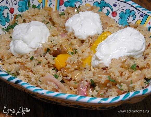Бурый рис с карамелизированным шалотом и чесноком