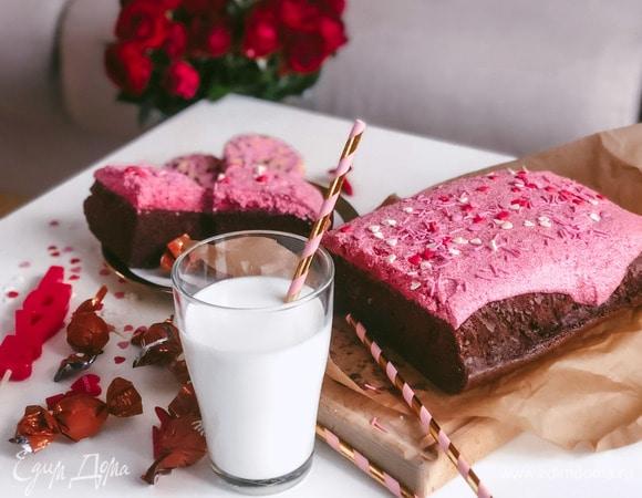 Шоколадный брауни с малиновым кремом