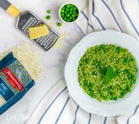 Ризотто со шпинатом и зеленым горошком