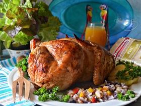 Курица по-карибски, фаршированная рисом и овощами