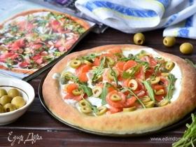 Белая пицца с семгой