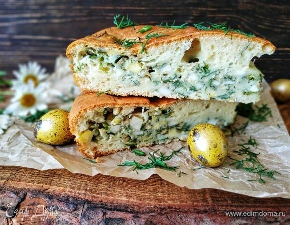 Заливной пирог с яйцами и зеленью