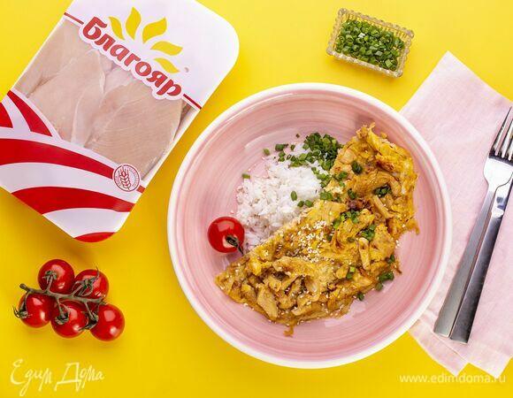 Японский омлет с рисом и курицей