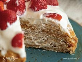 Безглютеновый блинный торт с кремом из кешью