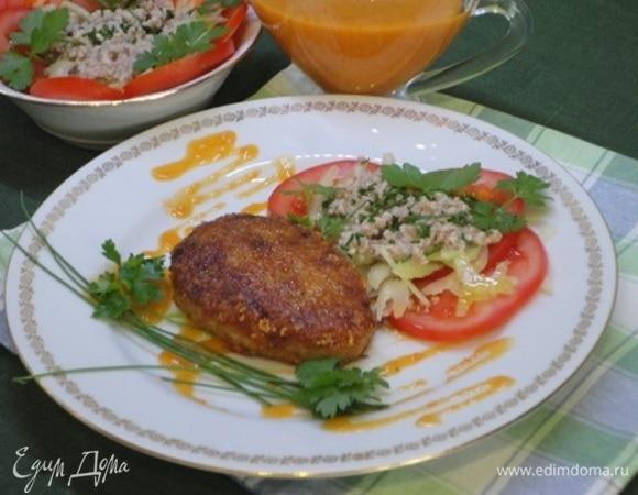 Шницель с рисом и сыром