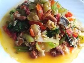 Овощное рагу с рыбой и грибами