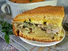 Домашний пирог с мясом и сыром