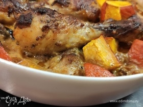 Курица с тыквой под горчичным соусом