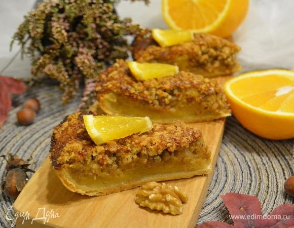 Тыквенный пирог с грецкими орехами и апельсином