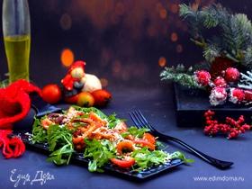 Салат с креветками, руколой и помидорами черри