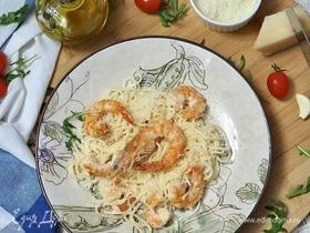 Спагетти с креветками и пармезаном