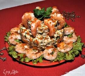 Двухъярусный салат с креветками и крабовыми палочками