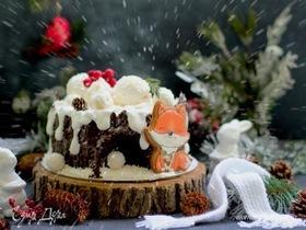Карамельный медовик «Зимний пень»