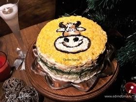 Новогодний салат с курицей и грибами «Белый бычок»