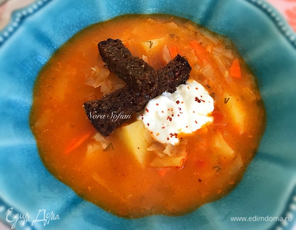 Постный суп с квашеной капустой