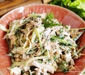 Мясной салат с блинчиками из омлета