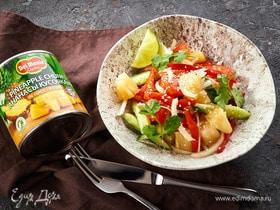 Овощной салат с ананасами и кисло-сладкой заправкой