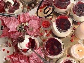 Шоколадно-творожные трайфлы с вишневым конфитюром