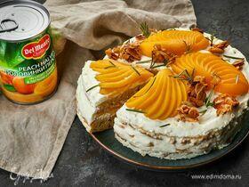 Торт «Молочная девочка» с персиками