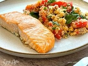 Запеченный лосось с кускусом