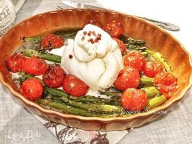 Буррата с запеченными овощами