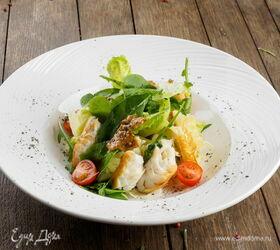 Рецепт салата с треской горячего копчения