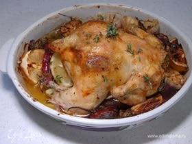 Курица с анчоусами, чесноком и тимьяном