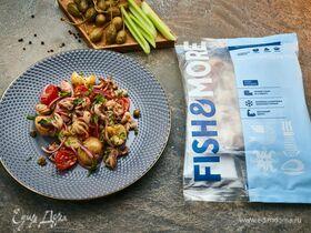 Теплый салат с осьминожками и картофелем