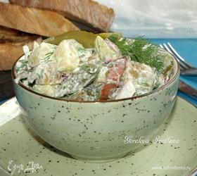 Картофельный салат с охотничьими колбасками