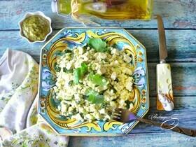 Теплый салат из перловки с цукини