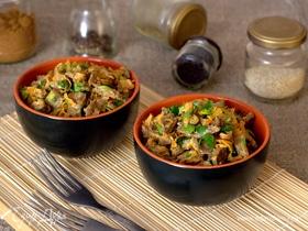 Теплый салат с куриными желудочками